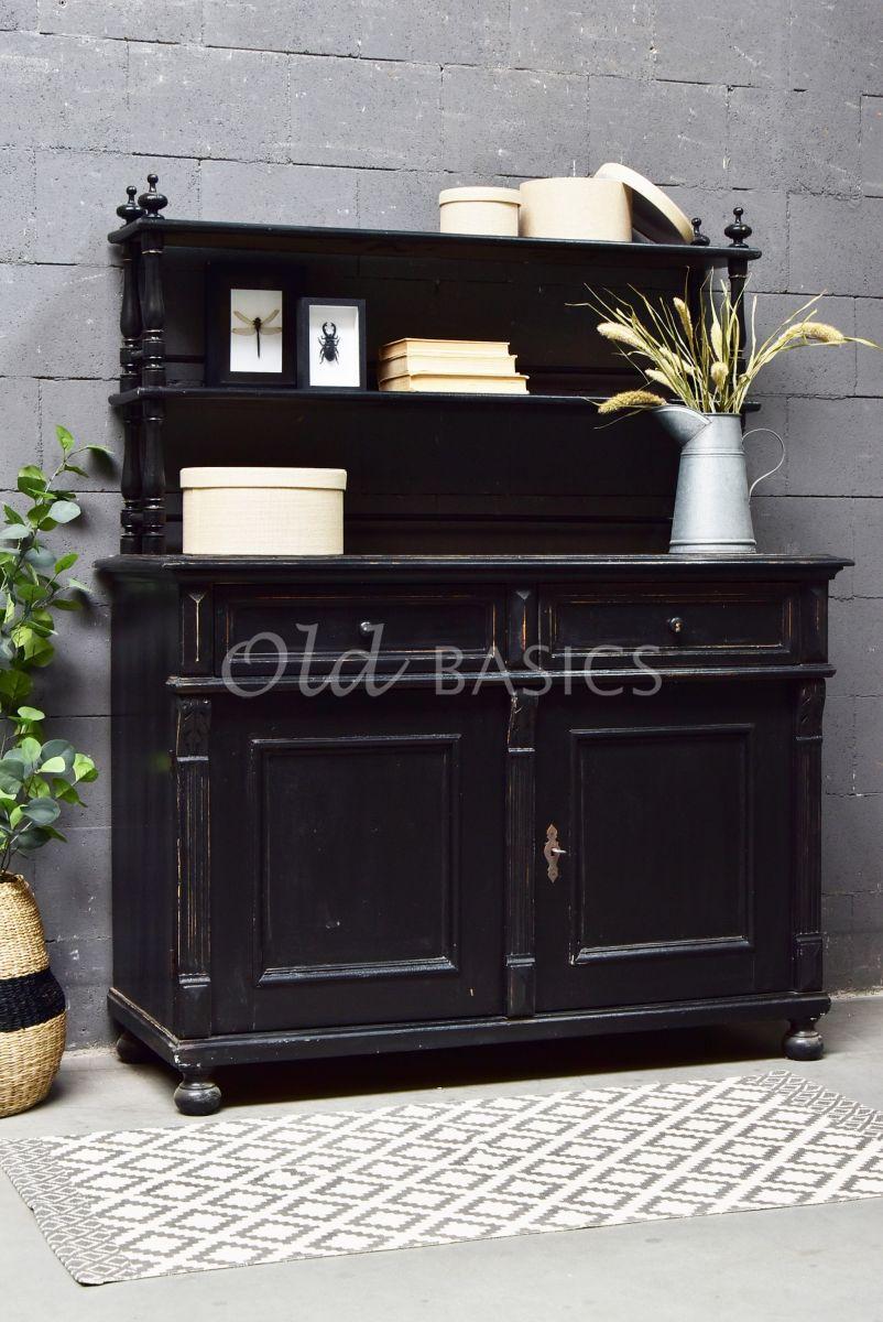 Buffetkast, zwart, materiaal hout