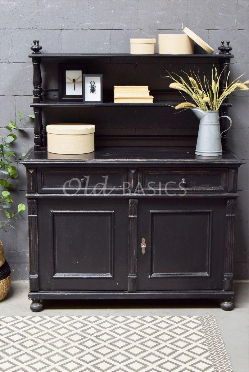 Detail van Buffetkast, zwart, materiaal hout