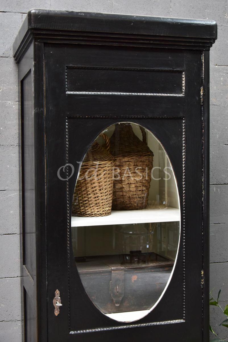 Detail van Smalle kast, zwart, materiaal hout