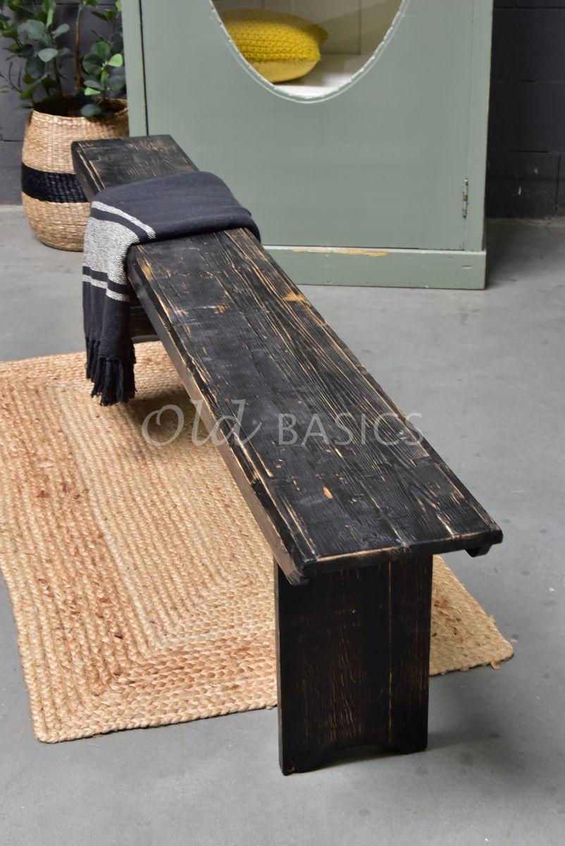 Detail van Houten bank, zwart, materiaal hout