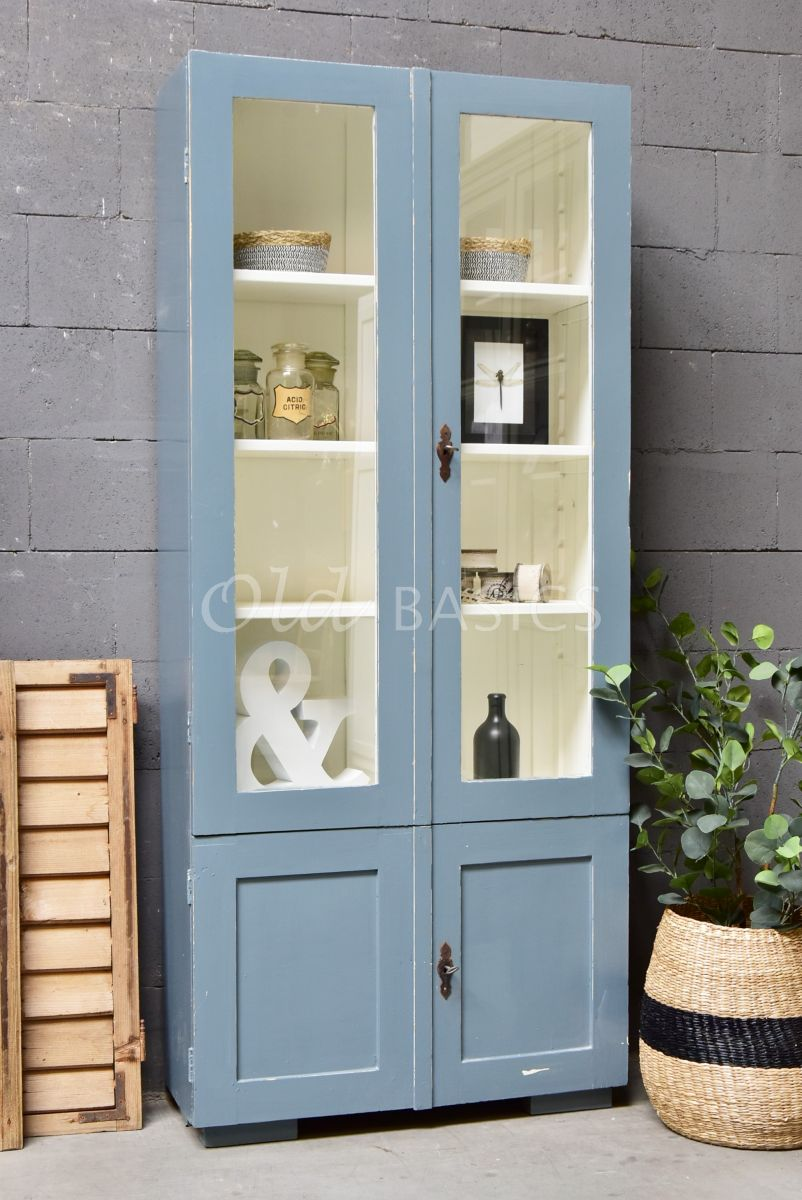 Vitrinekast, grijs, blauw, materiaal hout