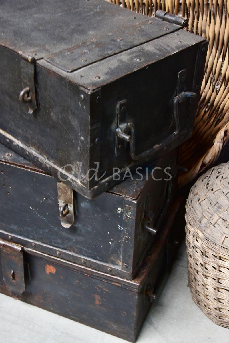 Detail van Stalen kist, metaal, materiaal staal