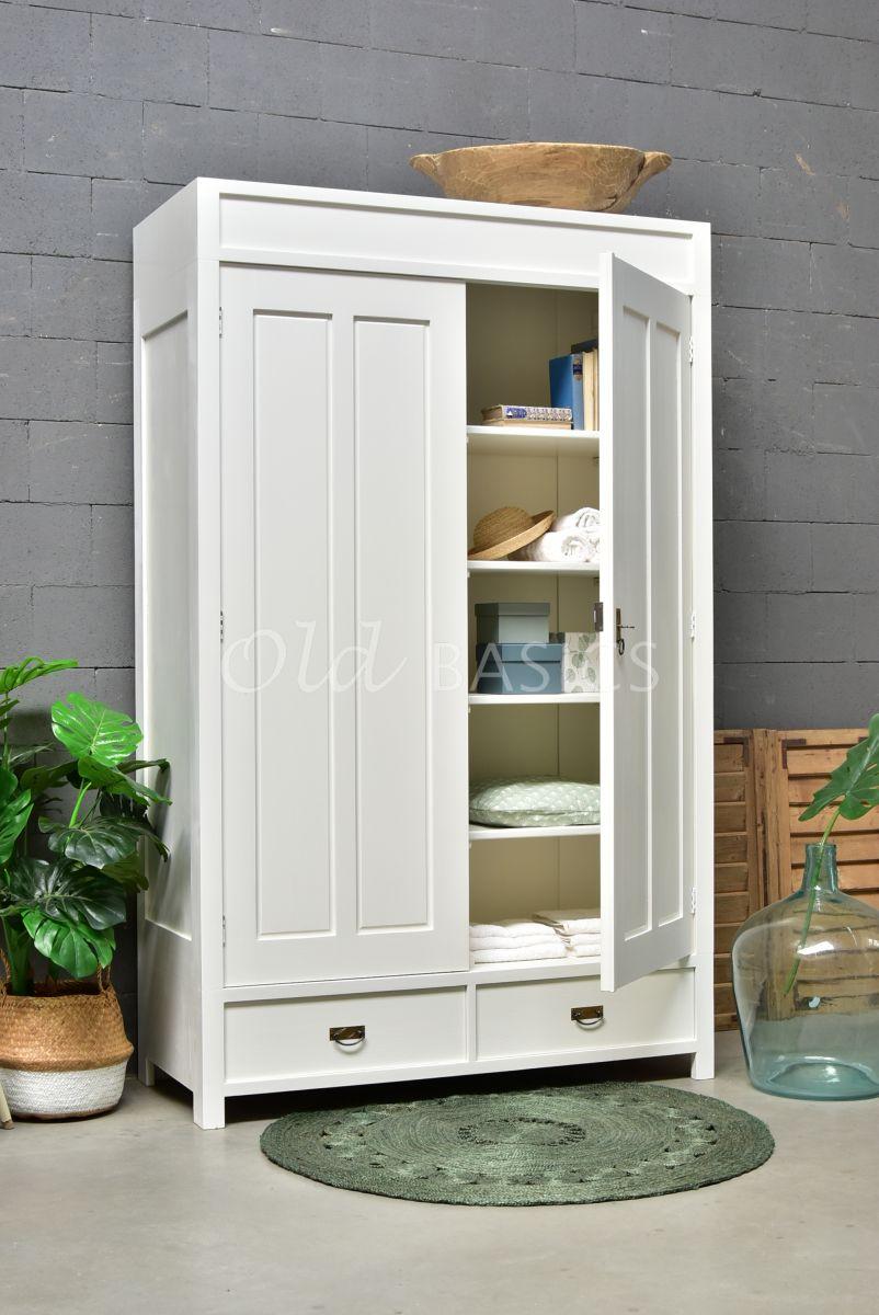 Linnenkast Plage, 2 deuren, RAL9010, wit, materiaal hout