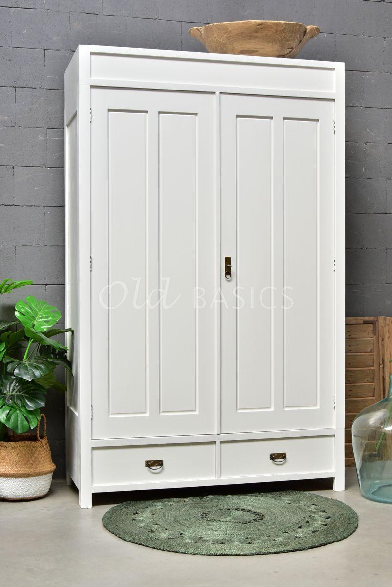 Detail van Linnenkast Plage, 2 deuren, RAL9010, wit, materiaal hout