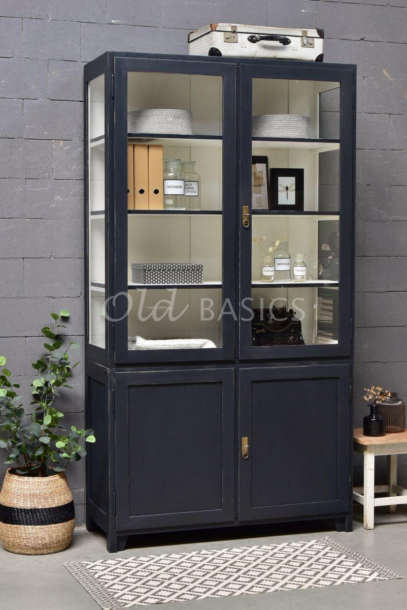 Vitrinekast Jeanette, 2 deuren, RAL7021, zwart, grijs, materiaal hout