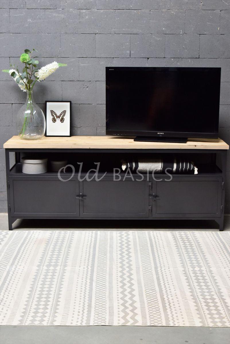 Detail van TVmeubel Fio, RAL3, zwart, grijs, naturel, materiaal staal