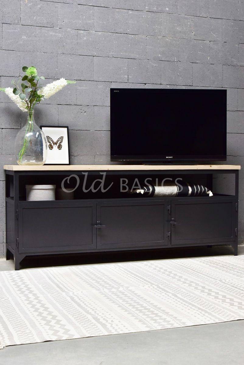 TVmeubel Fio, RAL3, zwart, grijs, naturel, materiaal staal