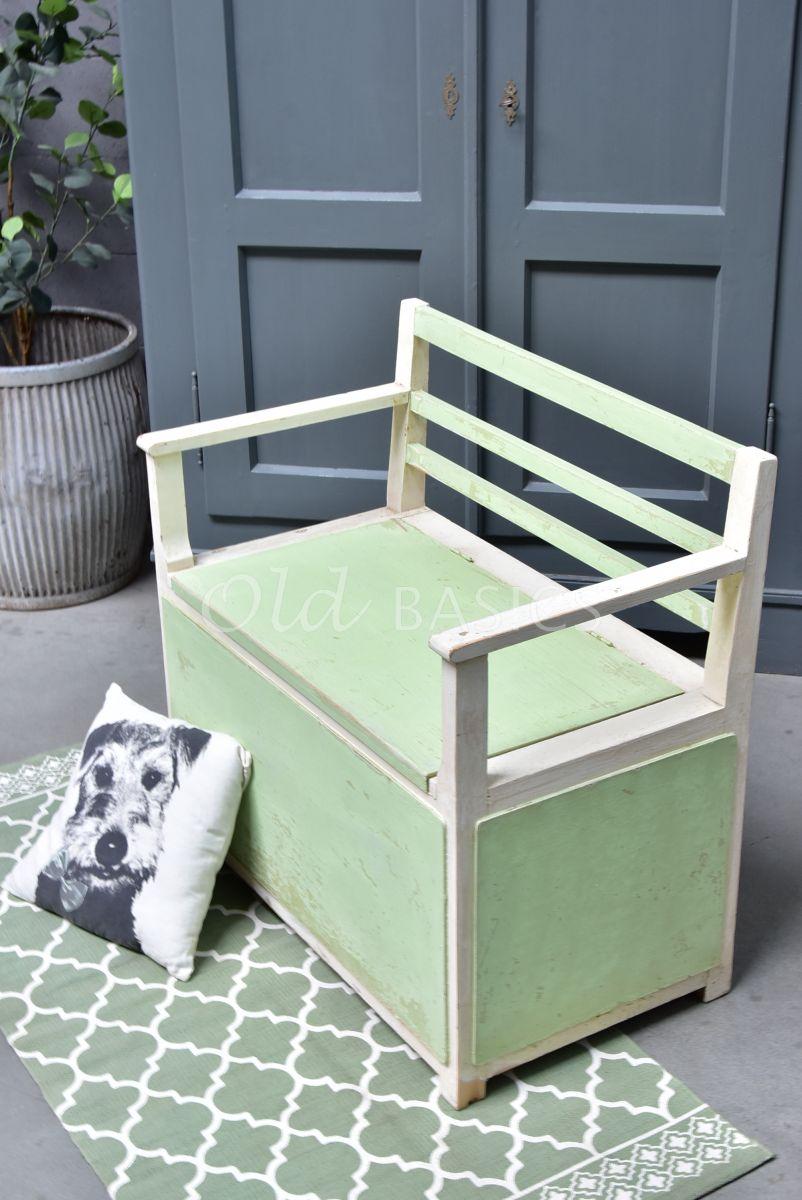Klepbank, groen, wit, materiaal hout