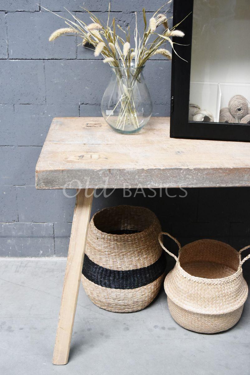 Detail van Slagerstafel, naturel, materiaal hout