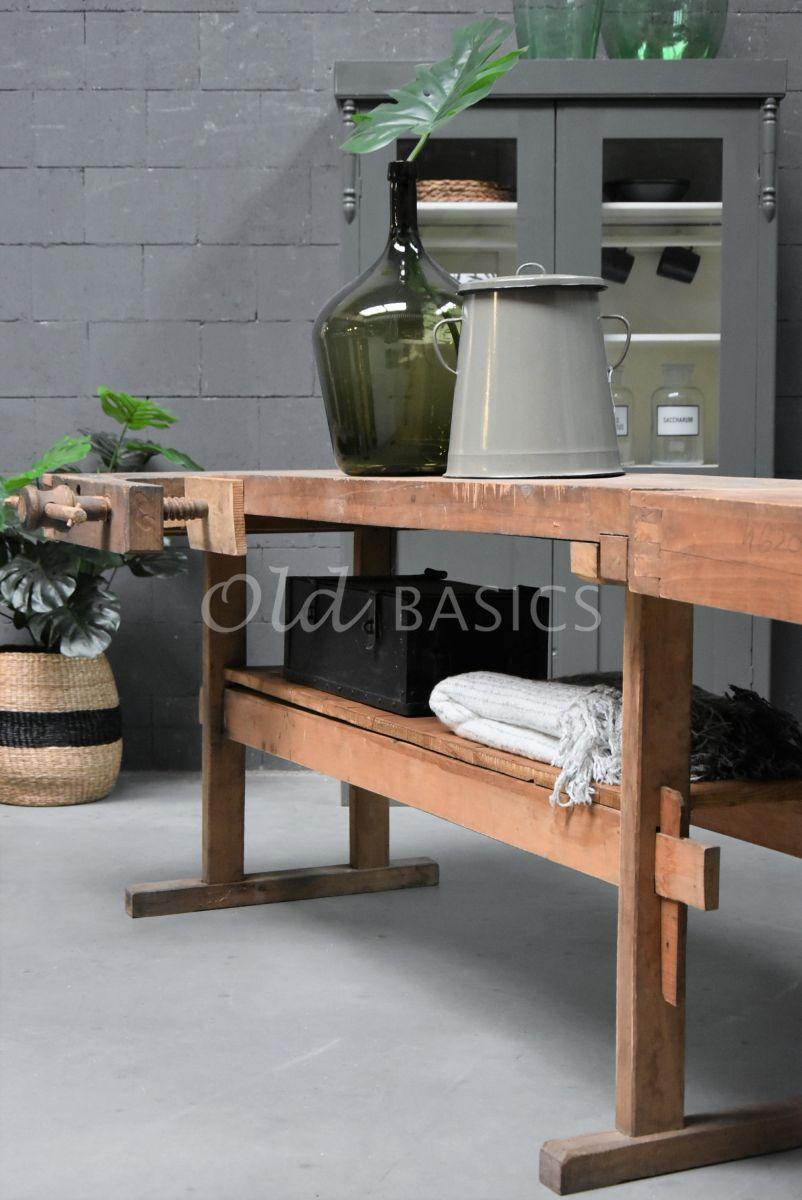 Detail van Werkbank, naturel, materiaal hout