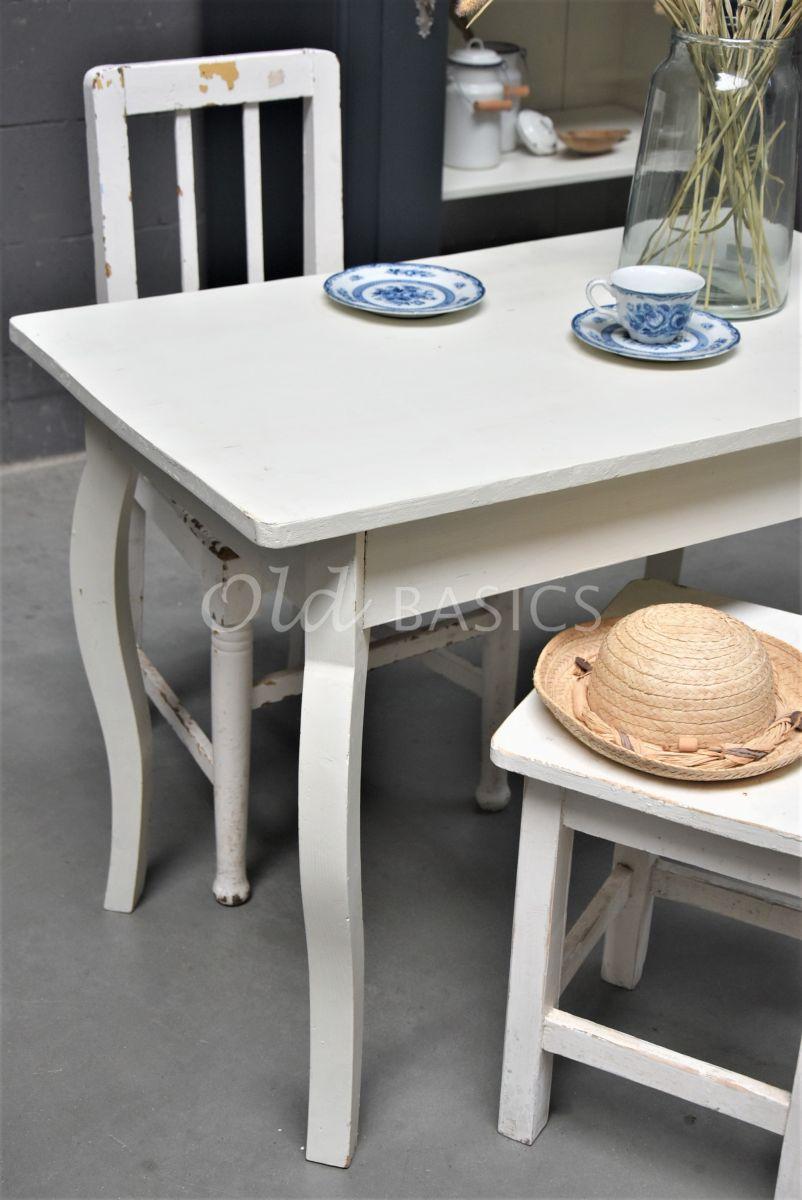 Detail van Keukentafel, wit, materiaal hout