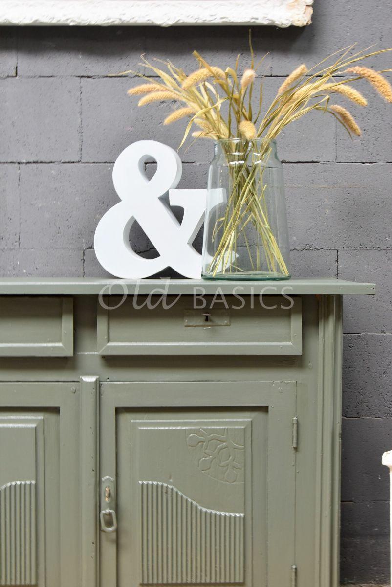 Detail van Onderkast, groen, grijs, materiaal hout