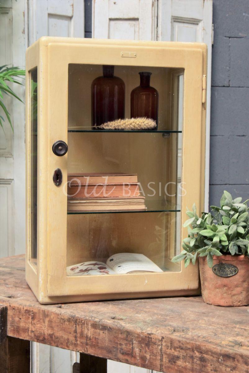 Hangkast, crème, geel, materiaal hout