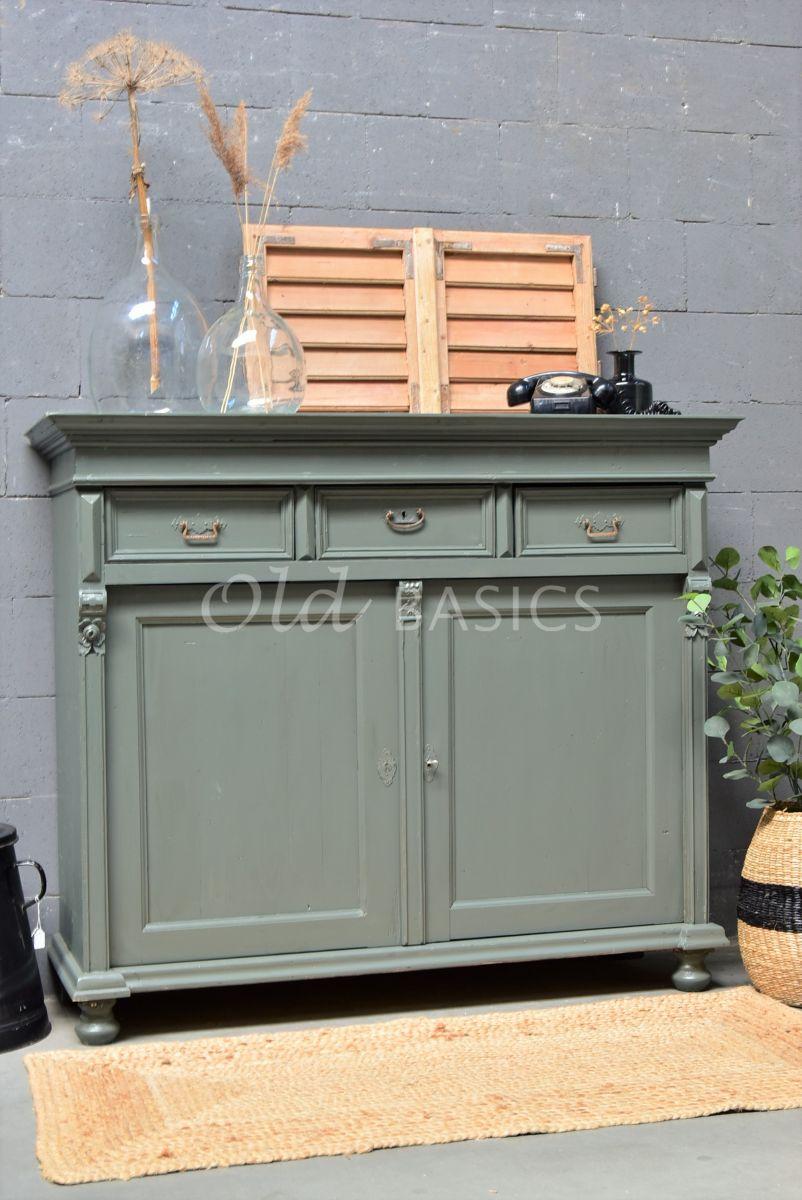 Dressoir, groen, grijs, materiaal hout