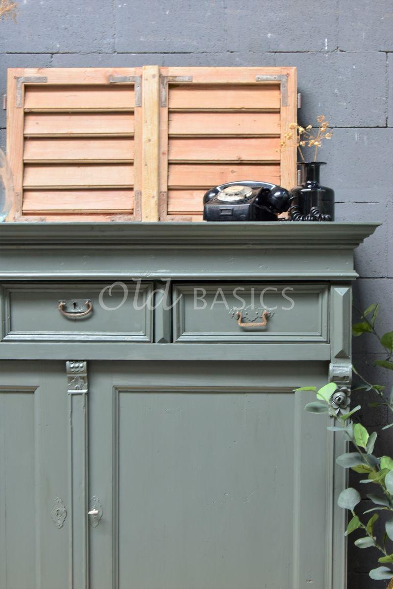 Detail van Dressoir, groen, grijs, materiaal hout