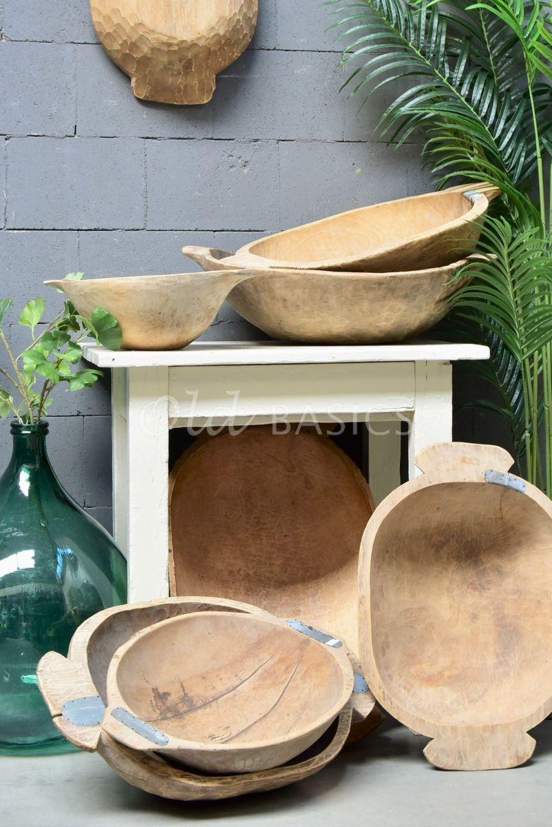 Detail van Houten trog S, naturel, materiaal hout