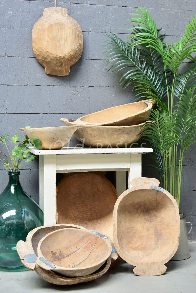 Detail van Houten trog M, naturel, materiaal hout